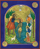 Baptism of Christ - after Coptic style icon